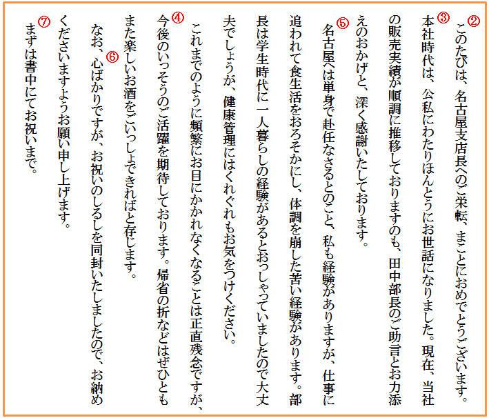 【基本文例】 栄転祝い(親しい相手へ)