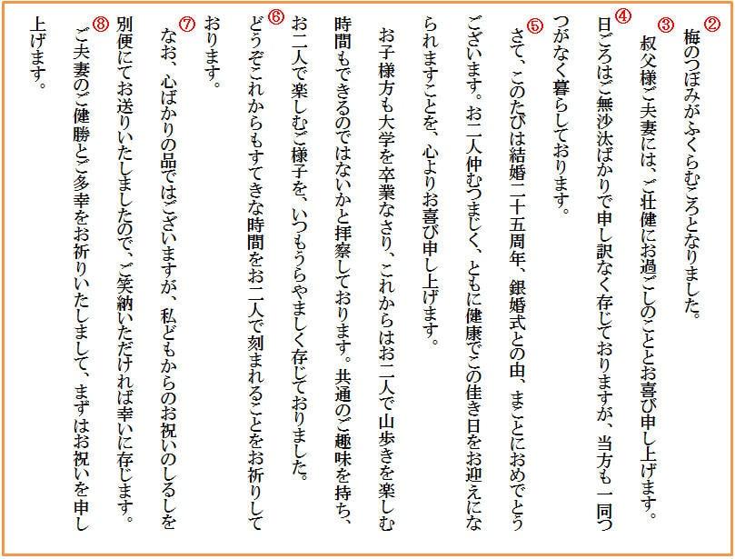 【基本文例】 銀婚式のお祝い(おじ夫妻へ)
