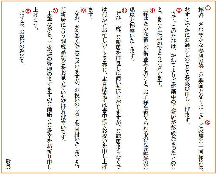 【基本文例】 新築祝いのお祝い