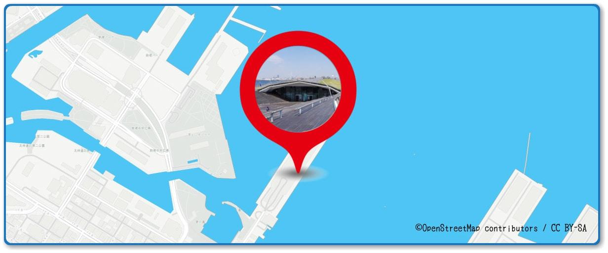 横浜スパークリングトワイライトの穴場 大さん橋付近の地図