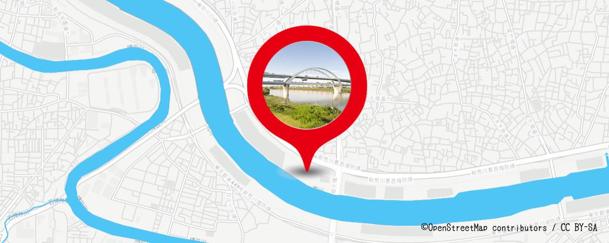 足立の花火の穴場 荒川江北橋緑地付近の地図