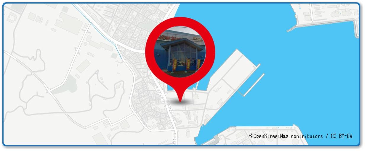 久里浜ペリー祭花火大会の穴場 パチンコ入兆久里浜店付近の地図