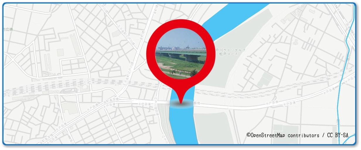 葛飾納涼花火大会の穴場 新葛飾橋付近の地図