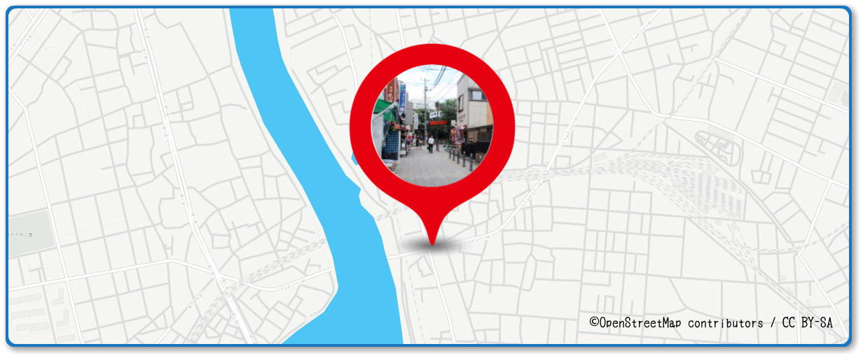葛飾納涼花火大会の穴場 柴又帝釈天前付近の街道の地図