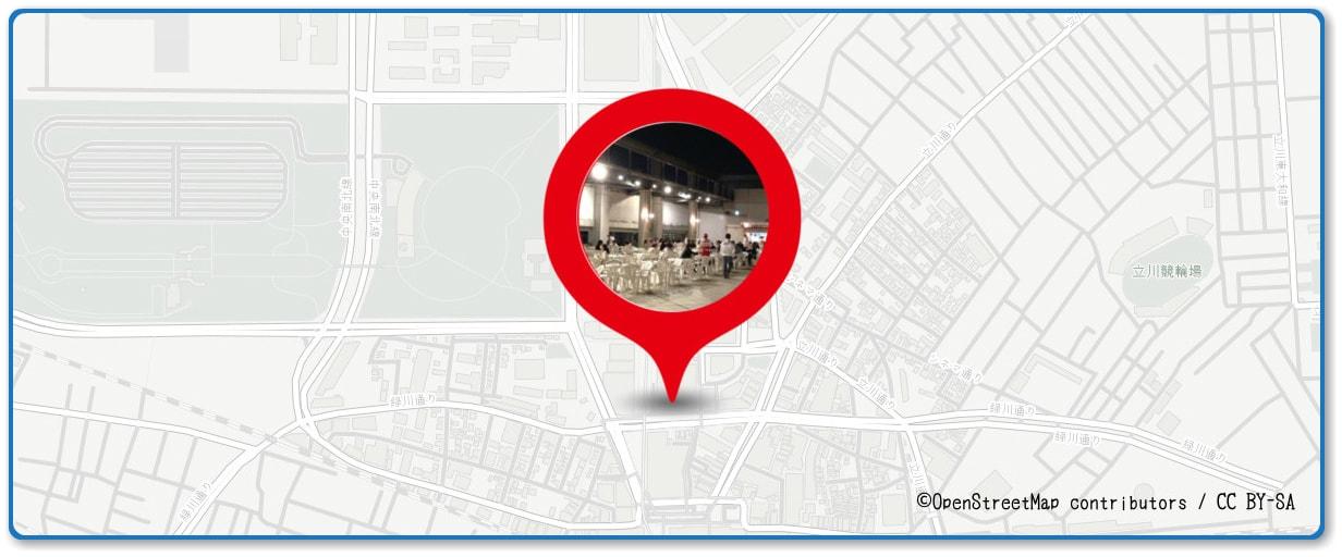 立川まつり 国営昭和記念公園花火大会の穴場 立川タカシマ屋 屋上ビアガーデン付近の地図