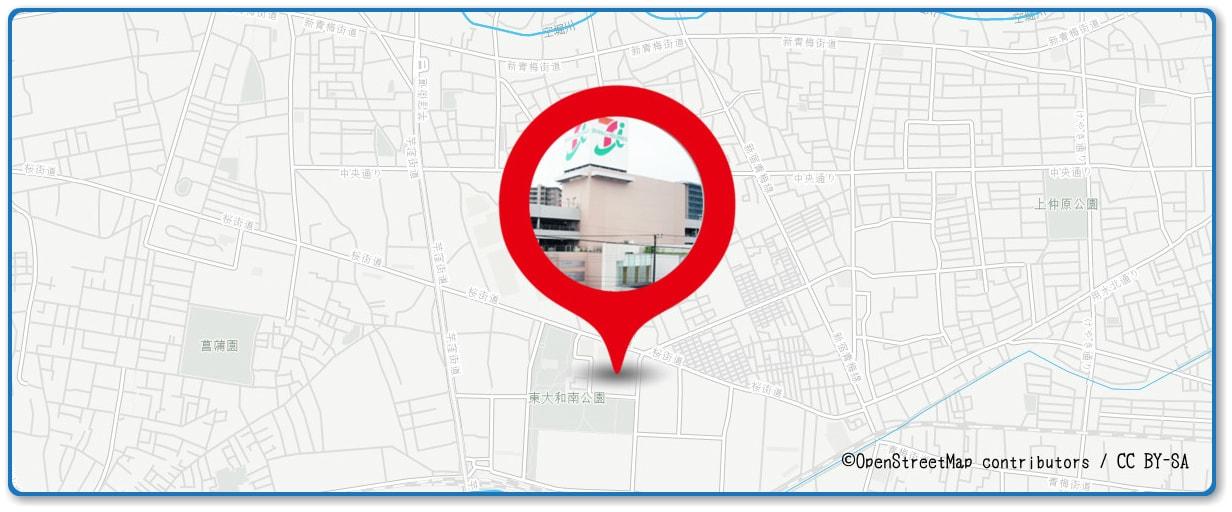 立川まつり 国営昭和記念公園花火大会の穴場 イトーヨーカドー 東大和店付近の地図