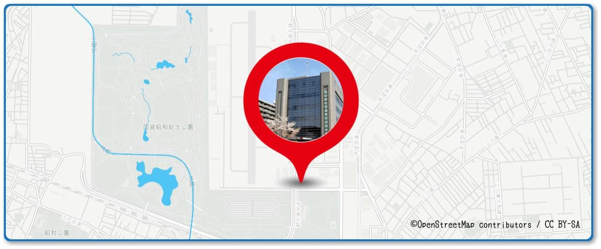 立川まつり 国営昭和記念公園花火大会の穴場 立川警察署前の交差点付近の地図