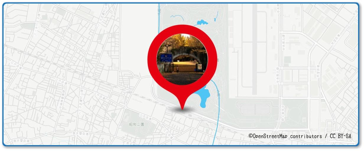立川まつり 国営昭和記念公園花火大会の穴場 昭和記念公園の昭島口広場近の地図