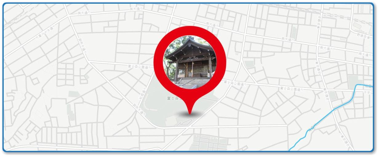 八王子花火大会の穴場 浅間神社付近の地図