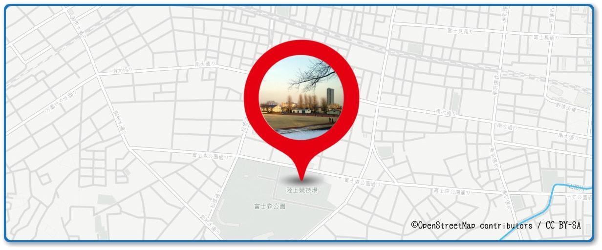 八王子花火大会の穴場 冨士森公園陸上競技場付近の地図