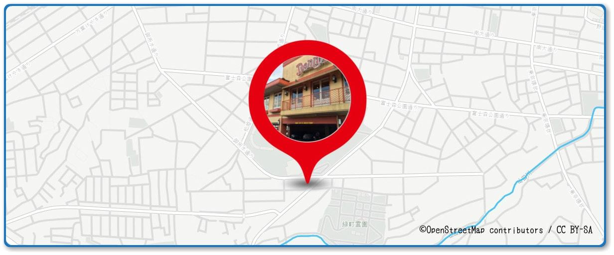八王子花火大会の穴場 デニーズ冨士森公園店付近の地図