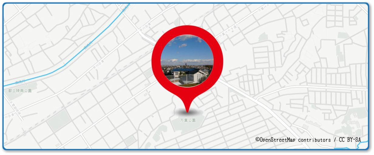 八王子花火大会の穴場 万葉公園付近の地図