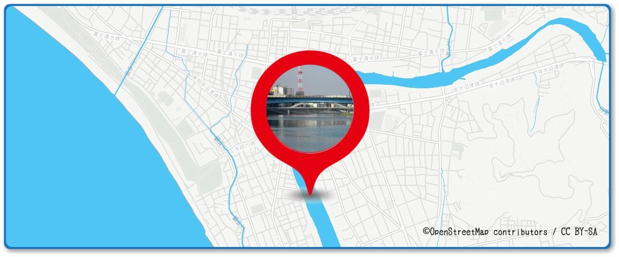 沼津夏まつり・狩野川花火大会の穴場 永代橋と御成橋付近の地図