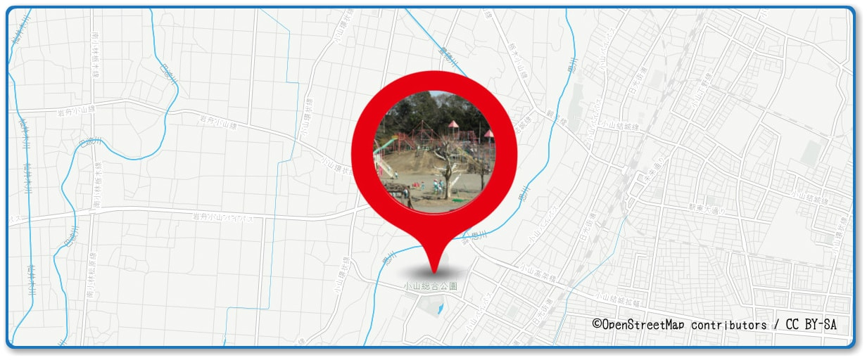 おやまサマーフェスティバル 小山の花火の穴場 小山総合公園周辺の地図