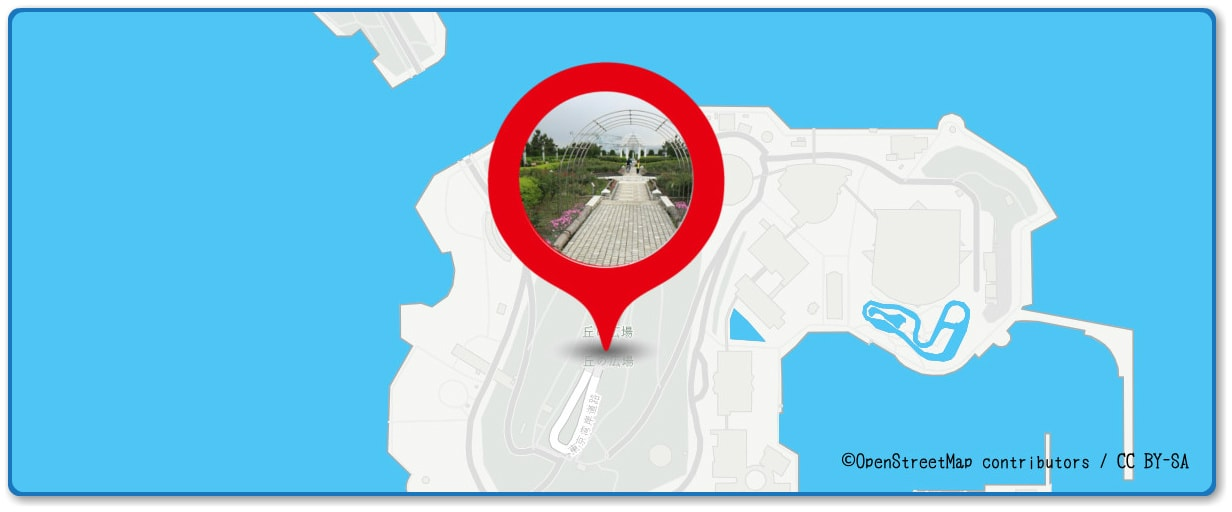 花火シンフォニアの穴場 丘の広場付近の地図