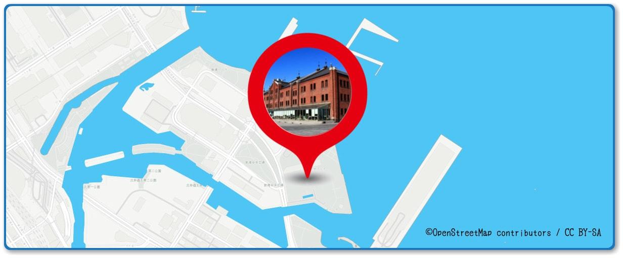 横浜スパークリングトワイライトの穴場 赤レンガ倉庫付近の地図