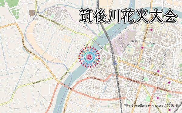 筑後川花火大会の打ち上げ場所の地図