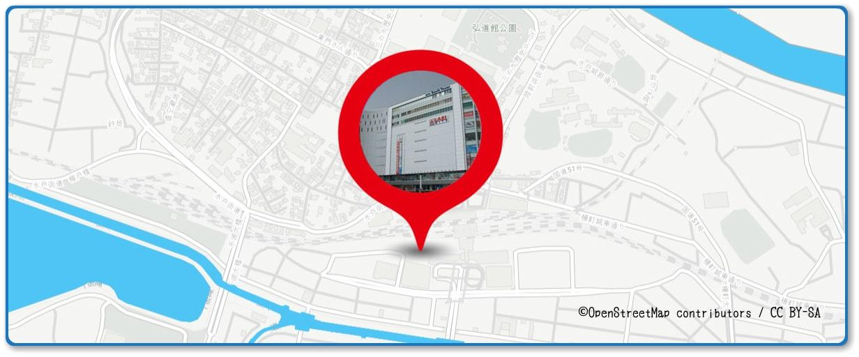 水戸黄門まつり花火大会の穴場スポット 水戸サウスタワー周辺の地図