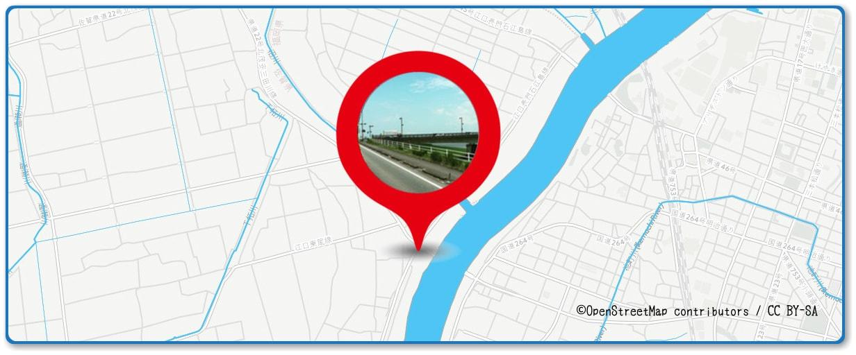 筑後川花火大会の穴場スポット 豆津橋周辺の地図