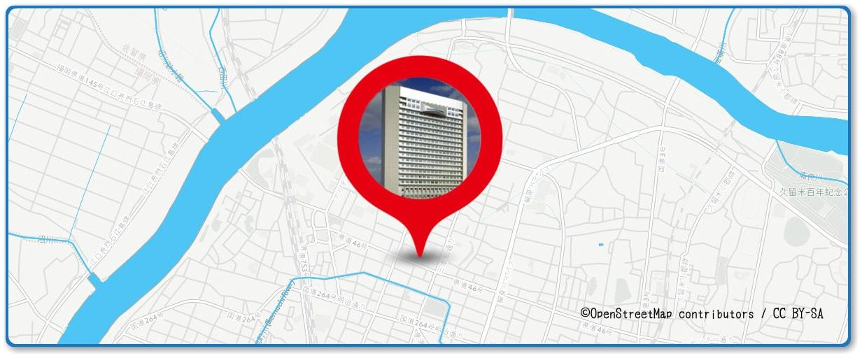 筑後川花火大会の穴場スポット 久留米市役所前の広場周辺の地図