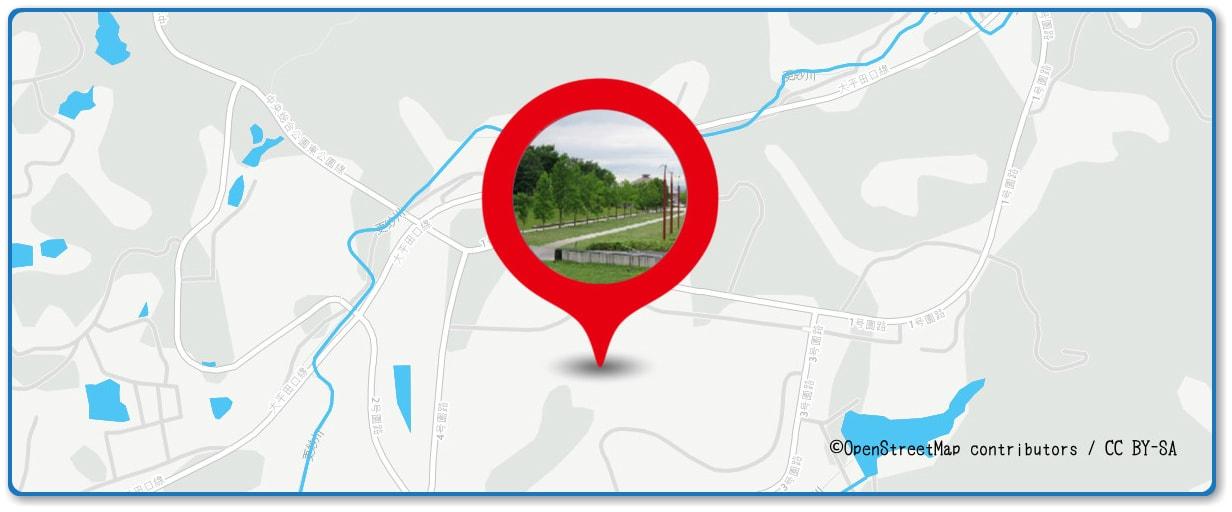 岡崎城下家康公夏まつり花火大会の穴場スポット 岡崎中央総合公園周辺の地図