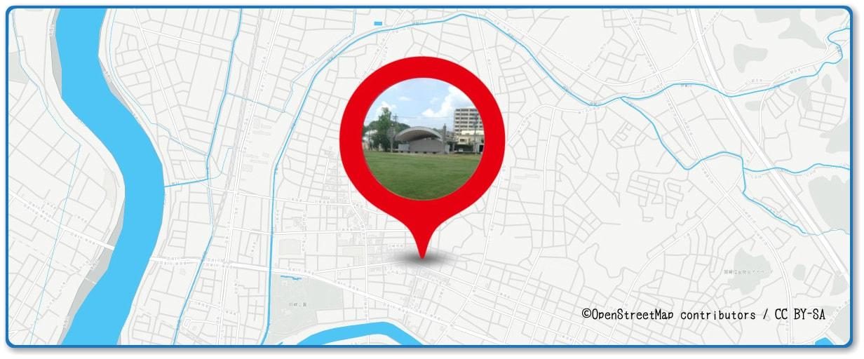 岡崎城下家康公夏まつり花火大会の穴場スポット 篭田公園周辺の地図