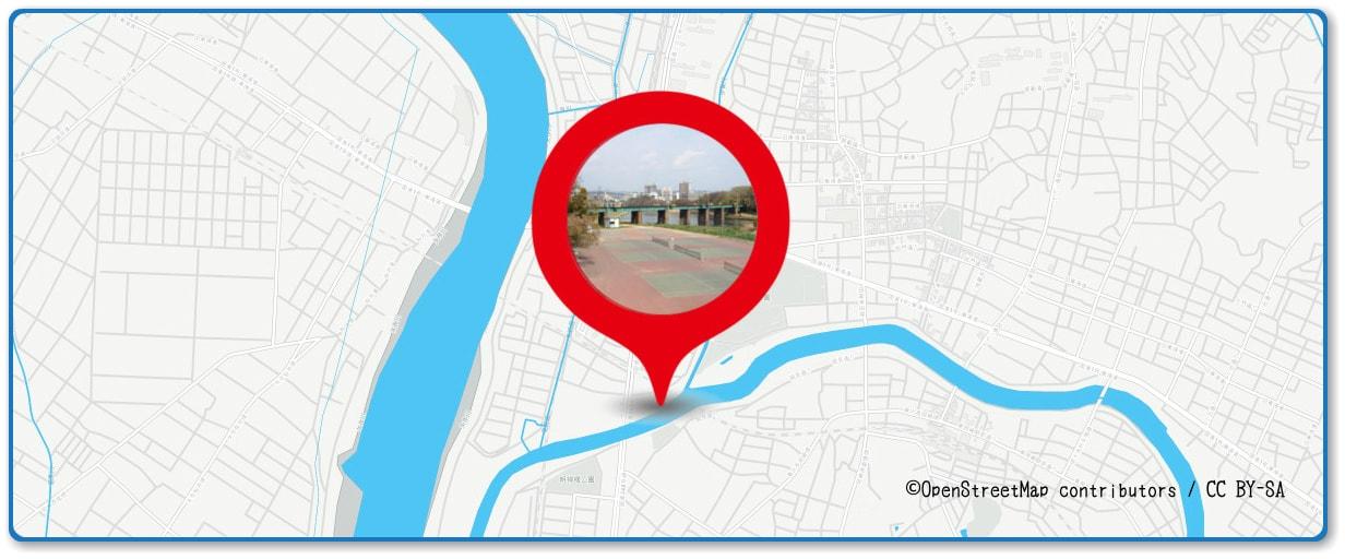 岡崎城下家康公夏まつり花火大会の穴場スポット 乙川河川敷庭球場周辺の地図