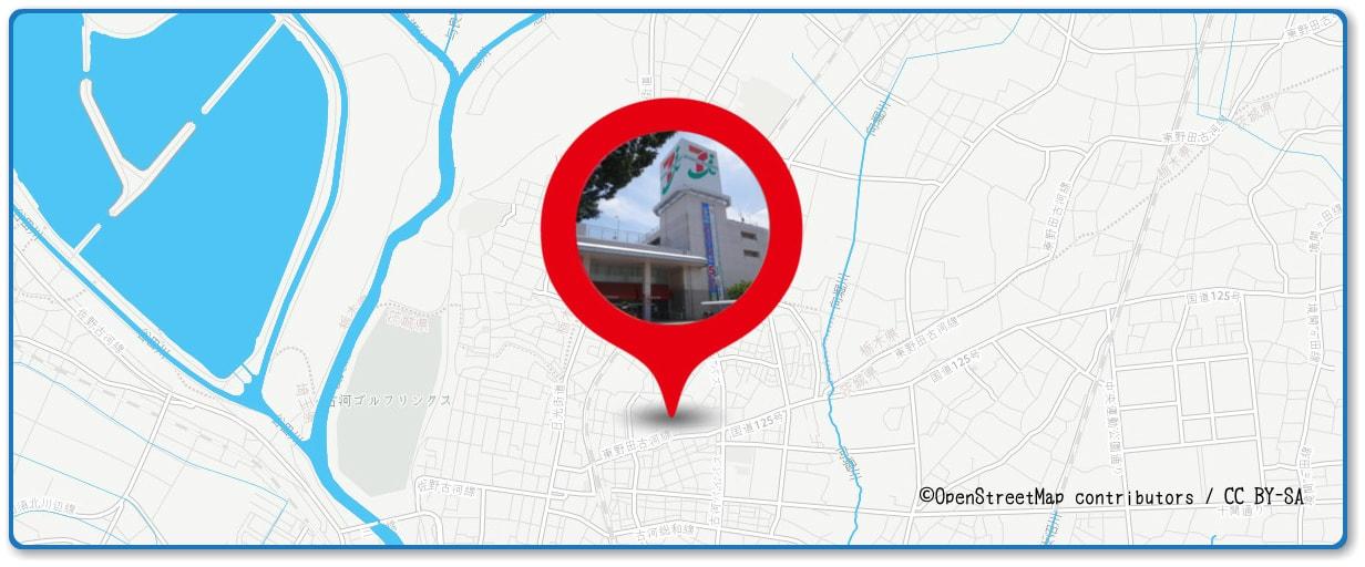 古河花火大会の穴場スポット イトーヨーカドー古河店周辺の地図