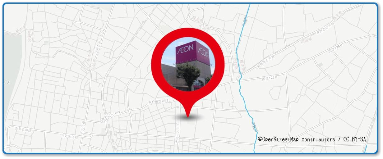 古河花火大会の穴場スポット イオン古河店周辺の地図