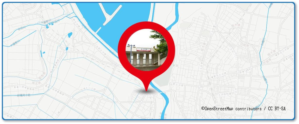古河花火大会の穴場スポット 新古河駅周辺の土手周辺の地図