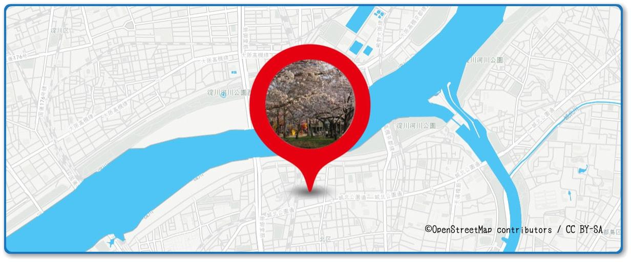 なにわ淀川花火大会の穴場スポット 本庄公園周辺の地図