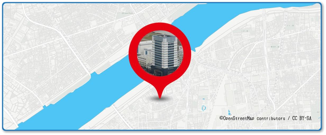 なにわ淀川花火大会の穴場スポット 日本ペイントビル前周辺の地図