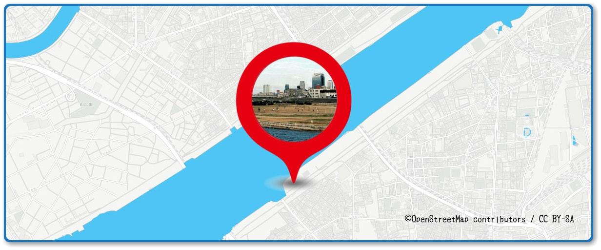 なにわ淀川花火大会の穴場スポット 海老江グランド周辺の地図