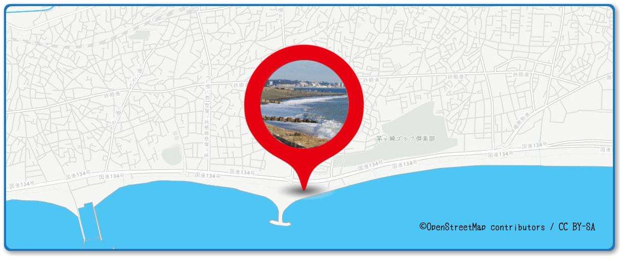サザンビーチちがさき花火大会の穴場スポット 菱沼海岸周辺の地図