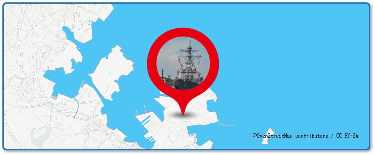 よこすか開国祭花火大会の穴場スポット 横須賀米軍基地周辺の地図