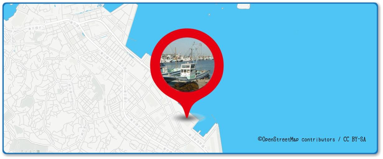 よこすか開国祭花火大会の穴場スポット 新安浦港周辺の地図