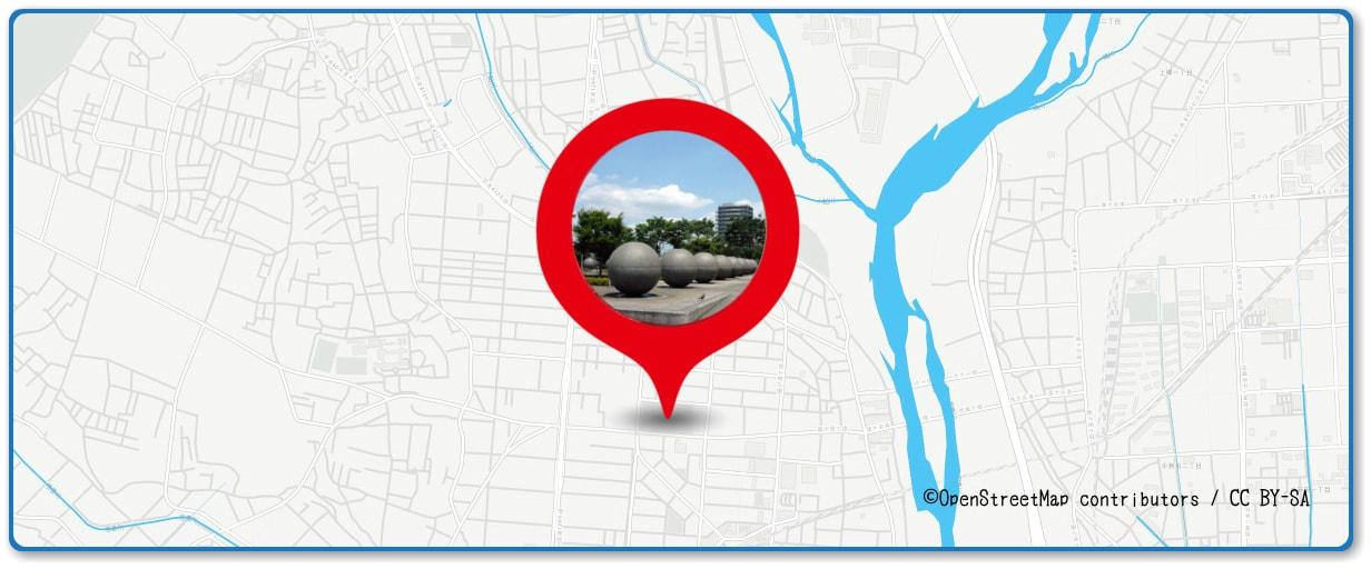 あつぎ鮎まつり花火大会の穴場スポット 厚木中央公園周辺の地図