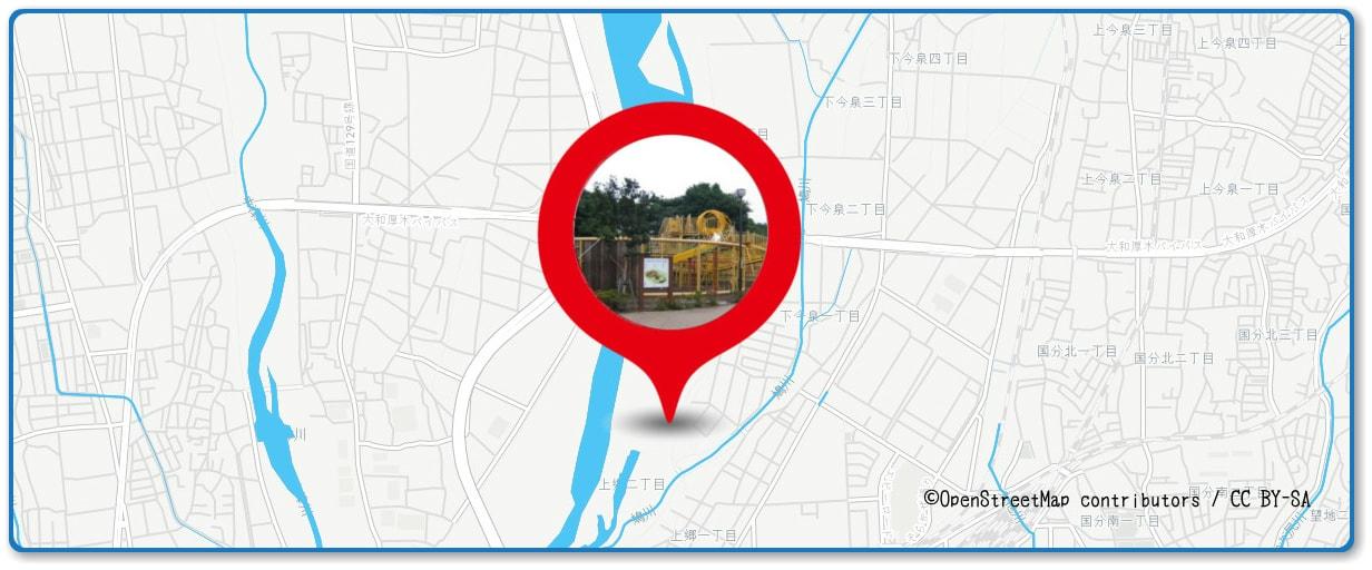 あつぎ鮎まつり花火大会の穴場スポット 相模三川公園周辺の地図