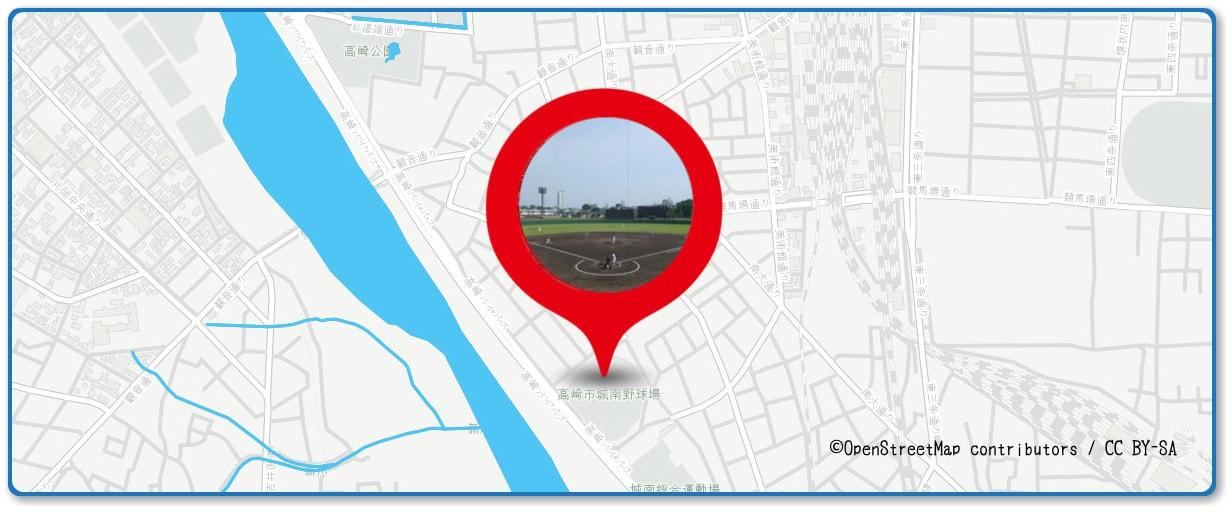 高崎まつり大花火大会の穴場スポット 城南野球場周辺の地図