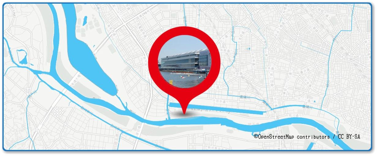 戸田橋花火大会の穴場スポット 戸田競艇場周辺の地図