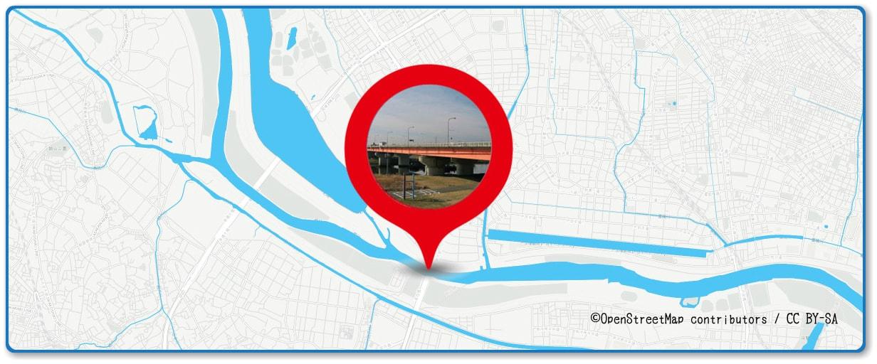 戸田橋花火大会の穴場スポット 笹目橋周辺の地図