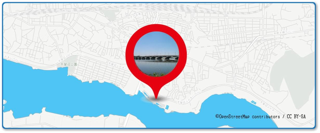 手賀沼花火大会の穴場スポット 手賀大橋周辺の地図
