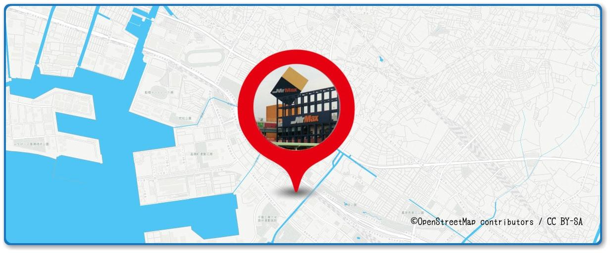 幕張ビーチ花火フェスタの穴場スポット MrMAX新習志野店の屋上周辺の地図