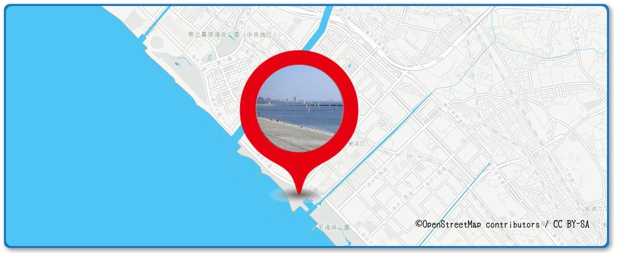 幕張ビーチ花火フェスタの穴場スポット 検見川の浜周辺の地図