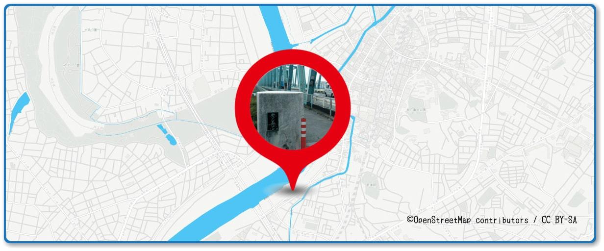 松戸花火大会の穴場スポット 葛飾橋周辺の地図