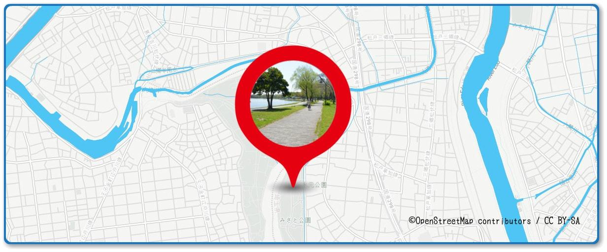 松戸花火大会の穴場スポット 水元公園周辺の地図