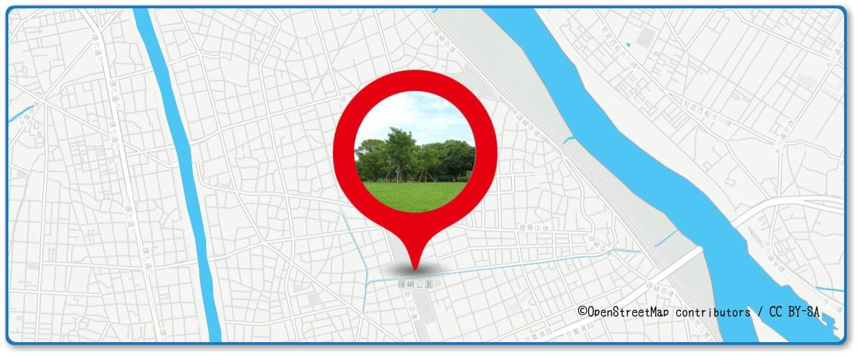 江戸川区花火大会の穴場スポット 篠崎公園周辺の地図