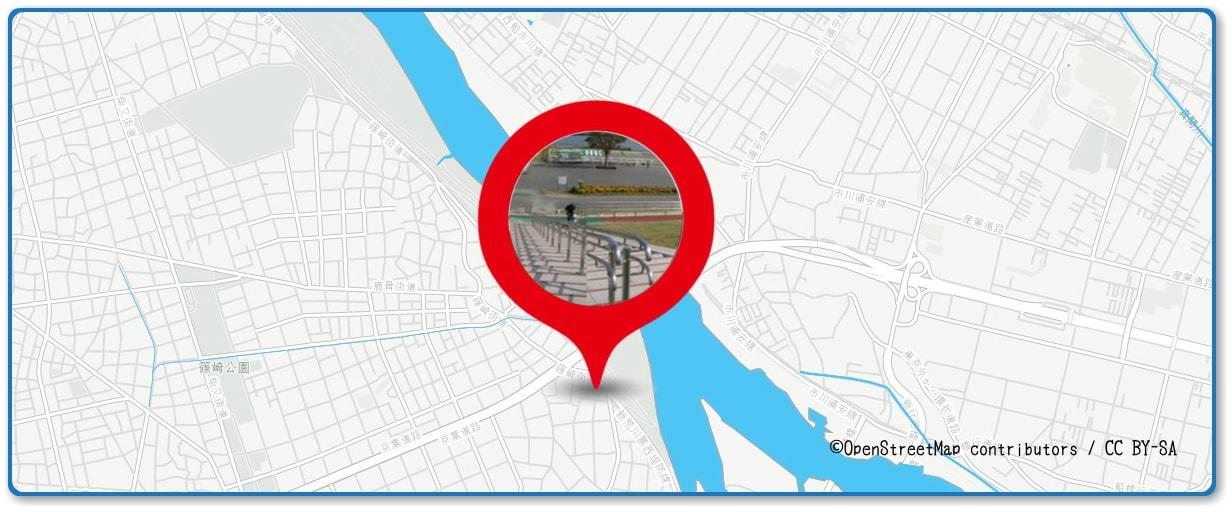 江戸川区花火大会の穴場スポット 篠崎ポニーランド周辺の地図