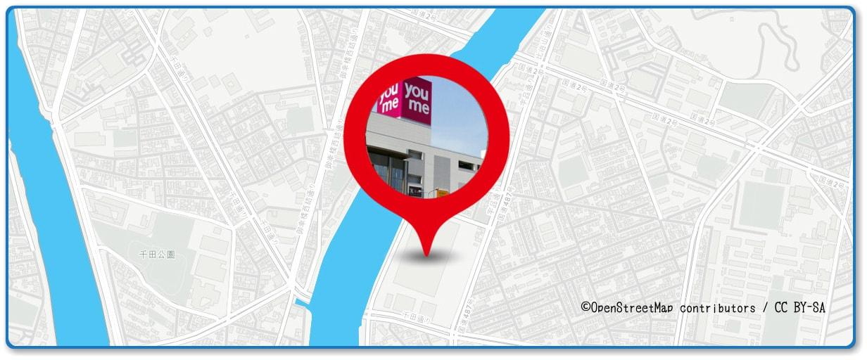広島みなと夢花火大会の穴場スポット ゆめタウン広島・屋上駐車場周辺地図