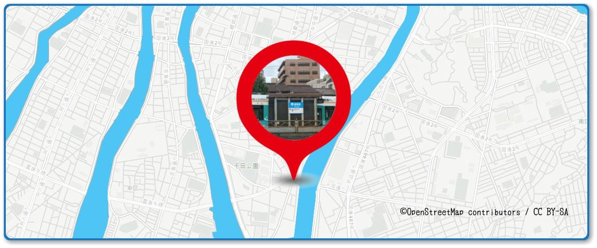 広島みなと夢花火大会の穴場スポット 御幸橋付近の遊歩道周辺の地図